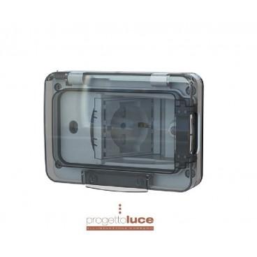 4BOX 4B.W.RAL.015 Presa schuko 4Box WIDE IP55 RAL7035 con Schuko e bivalente PER CASSETTE 503