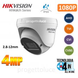 HIKVISION HWT-T340-VF TELECAMERA DOME 4IN1 TVI/AHD/CVI/CVBS HD 1080P 4MPX IP66