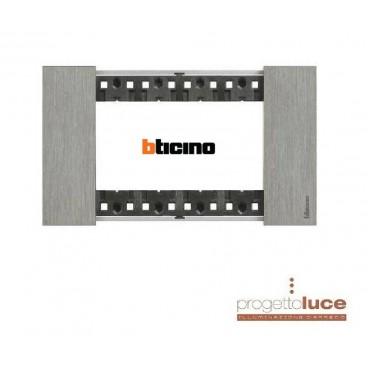 BTICINO KA4804ZG PLACCA 4 POSTI LIVING NOW COLORE ACCIAIO