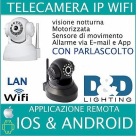 TELECAMERA IP CAMERA CAM WIRELESS INFRAROSSO 11 LED LAN RJ45 MOTORIZZATA P2P IPC