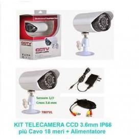 TELECAMERA CCD 3.6 MM 700 TVL IP66 24 LED IR BNC VIDEOSORVEGLIANZA CAVO 18 METRI