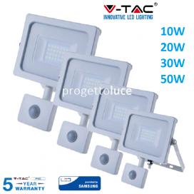V-TAC FARO FARETTO LED SMD 10W 20W 30W 50W SENSORE SLIM DA ESTERNO IP65