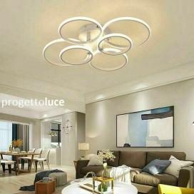 Lampadario LED a soffitto a sospensione moderno cerchi 51w LUCE CALDA 3000k IP20