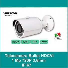 TELECAMERA BULLET HILTRON HDCVI 1,0 Mp 3,6mm 1020P HD 25 fps led 25mt +ICR IP67