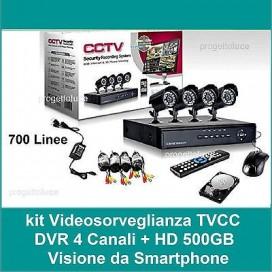 KIT VIDEOSORVEGLIANZA 4 CANALI TELECAMERA 700 TVL INFRAROSSI+500 HD+DVR+ALIMENTA