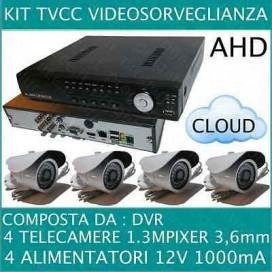 KIT VIDEOSORVEGLIANZA 4 CANALI + TELECAMERE AHD 720P 1,3MP