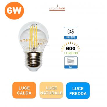 V-TAC LAMPADINA LED E27 6W LAMPADA FILAMENTO MINIGLOBO G45 SFERA BULB