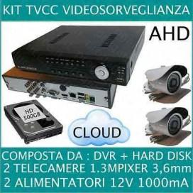 KIT VIDEOSORVEGLIANZA 4 CANALI + 2 TELECAMERE AHD 720P 1,3MP + HD500GB