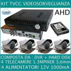 KIT VIDEOSORVEGLIANZA 4 CANALI + 4 TELECAMERE AHD 720P 1,3MP + HD500GB