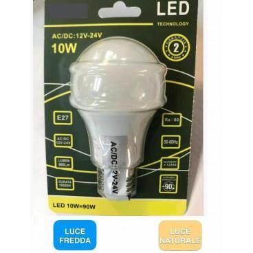 KIT 5 LAMPADINE LED E27 AC/DC 12V 24V BULB A60 10W 900 LUMEN