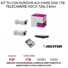 KIT VIDEOSORVEGLIANZA TVCC HD 2 TELECAMERE3.6mm HDCVI+ NVR/DVR + HARD DISK 1TB