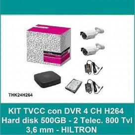 KIT VIDEOSORVEGLIANZA TVCC DVR 4 CANALI 2 TELECAMERE 800 TVL +HARD DISK 500GB