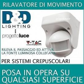 SENSORE V-TAC MOVIMENTO INFRAROSSI PER CREPUSCOLARE RILEVA PRESENZA LUCI LAMPADE