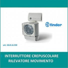 INTERRUTTORE SENSORE DI MOVIMENTO INFRAROSSI CREPUSCOLARE FINDER 18.01.8.230