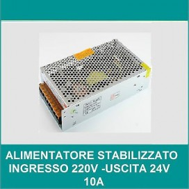 ALIMENTATORE STABILIZZATO 10 A SWITCHING 24V 10A 24 V VOLT 220 TRIMMER