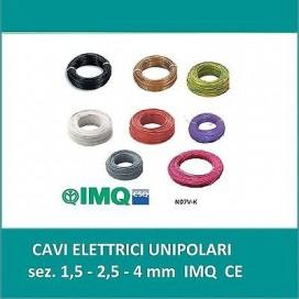 CAVO CORDINA FILO ELETTRICO UNIPOLARE MATASSA 100 METRI SEZIONE 1X1,5/2.5/4MM