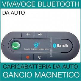 KIT VIVAVOCE BLUETOOTH V4.0 PER AUTO TRASMETTITORE UNIVERSALE SUPPORTO CALAMITA