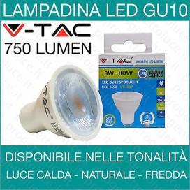 V-TAC lampada lampadina GU10 led spot 8w fredda calda naturale 38 gradi faretto