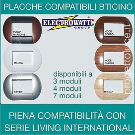 PLACCHE 3 4 - 6 MODULI COMPATIBILI BTICINO LIVING INTERNATIONAL COLORI ASSORTITI