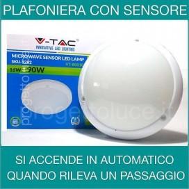 V-TAC | PLAFONIERA LED 16W con Sensore di Movimento
