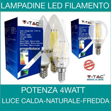 Lampadine led E14 a filamento