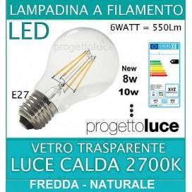 LAMPADA LED FILAMENTO V-TAC 4W 6W 8W 10W E27 LUCE CALDA BULBO GOCCIA LAMPADINA
