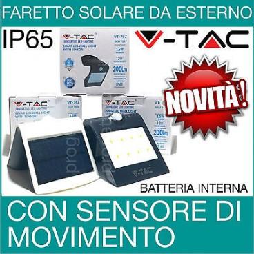 V-TAC FARO LED FARETTO CON SENSORE CREPUSCOLARE CARICA SOLARE DA ESTERNO IP65