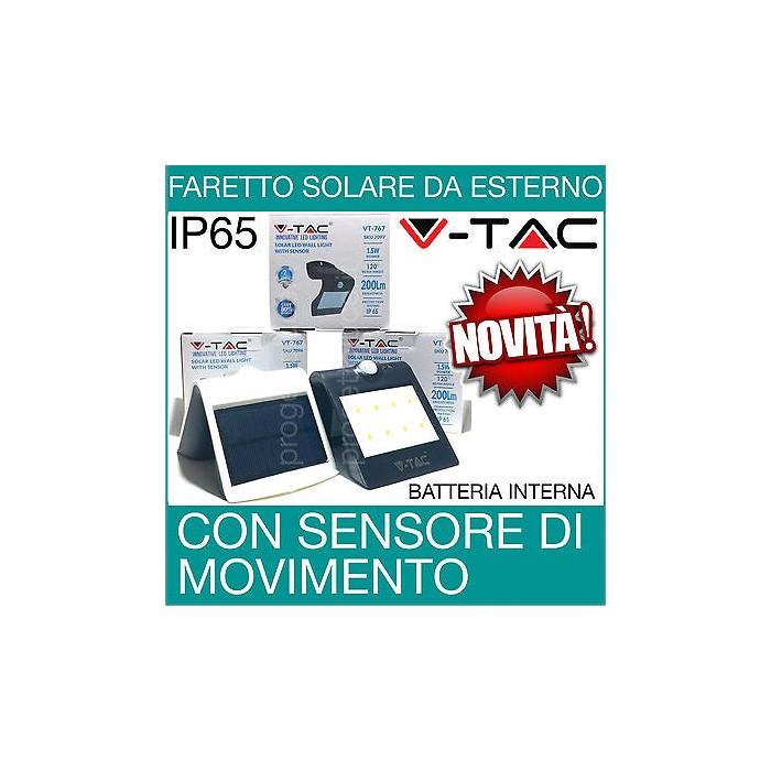 V Tac Faro Led Faretto Con Sensore Crepuscolare Carica Solare Da Esterno Ip65