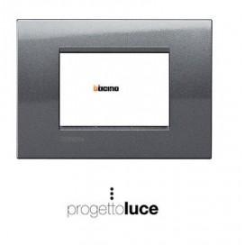 BTICINO LIVINGLIGHT LNA4803AC PLACCA QUADRA 3 MODULI METALS ACCIAIO