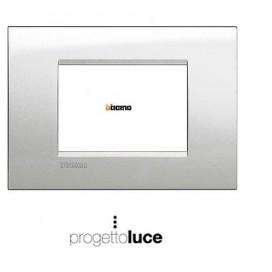 Bticino Living Light placca LNA4803GL 3p (3 posti - moduli) Argento Lunare