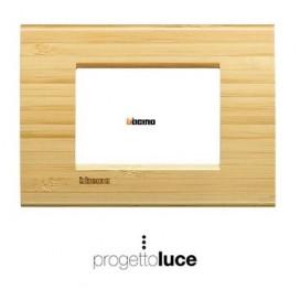 Bticino Living Light placca LNA4803LBA 3p (3 moduli) in legno massello bambù