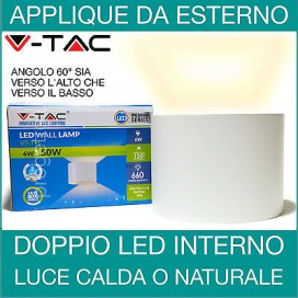 Applique led per esterni doppia luce regolabile 6w luce naturale lampada parete