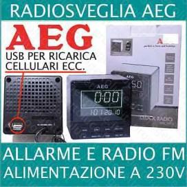 AEG DIGITALE RADIOSVEGLIA DATA E PRESA USB CARICATORE FINITURA ACCIAIO