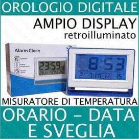 Sveglia Digitale LCD Termometro data temperatura retro illuminato