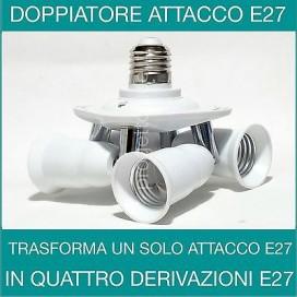PORTALAMPADA ADATTATORE SDOPPIATORE E27 4 INGRESSI ATTACCO E27 LAMPADINA