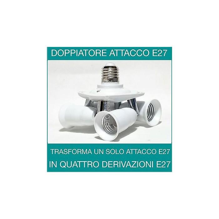 Portalampada Adattatore Sdoppiatore 4 Ingressi Lampadine Attacco E27