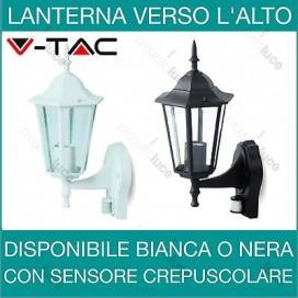 V-TAC Lanterna da parete con sensore di movimento crepuscolare PIR Nera o bianca