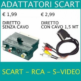★ADATTATORE Cavo SCART Maschio/Femmina + Audio RCA S-VIDEO Presa IN OUT S-vhs TV
