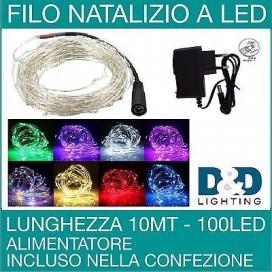 LUCI NATALE FILO LED 10M 100 LED MINILUCCIOLE SERIE LUMINOSA DECORATIVA NEW