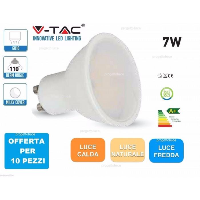 10 faretti v tac led 7w gu10 spot faretto spotlight for Lampadine led per faretti ad incasso