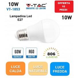 10 LAMPADINE LED E27 A60 10W V-TAC 4209-4226-4227 BULB LAMPADINA LAMPADA