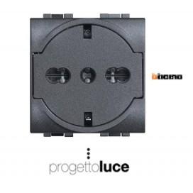 BTICINO L4140/16F PRESA UNEL TED/ITA 2P+T 16A 250V ANTRACITE LIVING LIGHT