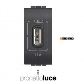BTICINO L4285C1 CARICATORE USB LIVINGLIGHT ANTRACITE 1A