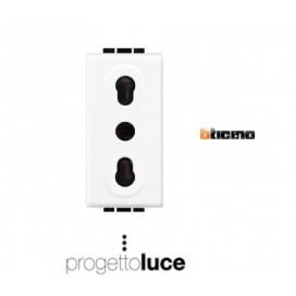 BTICINO N4180 PRESA BIVALENTE 10/16A LIVINGLIGHT BIANCA