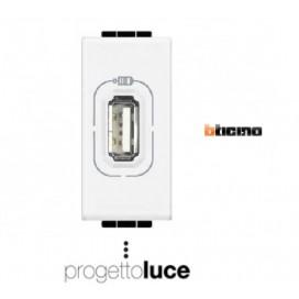 BTICINO N4285C1 PRESA USB SINGOLA ALIMENTAZIONE 1.1A LIVINGLIGHT BIANCA