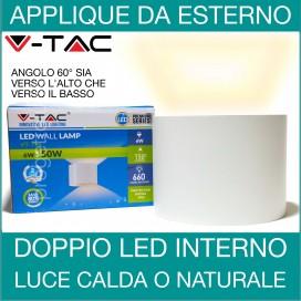 V-TAC | Lampada parete applique led uso esterno interno doppia luce fredda regolabile