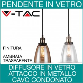 V-TAC | Lampadari pendenti diffusore in vetro vintage