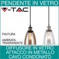 V-TAC   Lampadari pendenti diffusore in vetro vintage
