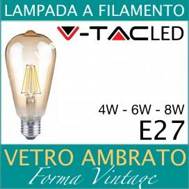 LAMPADA LED FILAMENTO VINTAGE 4W 6W AMBER E27 BULBO LAMPADINA V-TAC CALDA 2200K