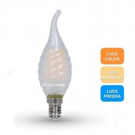 LAMPADINE LED E14 4W FIAMMA LED TORCIGLIONE LAMPADA VETRO SMERIGLIATO V-TAC